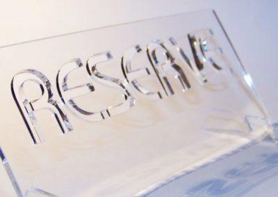 Nápis RESERVE - laserové řezání